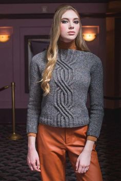 The Olivia Sweater makes a bold statement by intertwining multiple parallel cables. This seamless-yoke sweater is worked in the round from the top down. Cable Knitting Patterns, Knitting Designs, Knitting Projects, Sweater Patterns, Knitting Ideas, Cable Sweater, Men Sweater, How To Start Knitting, Fall Sweaters