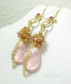 MiShelli Designs - Pink Chalcedony Spinel Cluster Gold Statement Earrings, $233.00 (http://www.mishellidesignsjewelry.com/pink-chalcedony-spinel-cluster-gold-statement-earrings/)