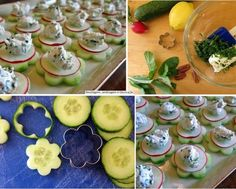 Beautiful food art with Cucumber. Food Design, 1st Birthday Foods, Raw Cheese, Mini Appetizers, Cucumber Appetizers, Dessert Drinks, Cute Food, Creative Food, Diy Food