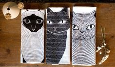Cat Tea Towel Bundle, 3 Cats Tea Towels, Cat Lover Kitchen Decor, Cat