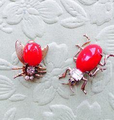 Two Vintage Red Cabochon Rhinestone Bug Brooches by DanasLegacy