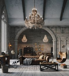 Loft style furniture - Helpful Ways Of Designing Attractive Industrial Living Rooms – Loft style furniture Loft Design, House Design, Design Design, Home Interior Design, Interior Decorating, Gothic Interior, Ikea Interior, Decorating Ideas, Architecture Design