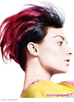 Bold Magenta Hair Color  Punk Girl Hairstyles pictures     This bold magenta hair color look smashing when paired with an edgy Punk cut. Use your hair coloring skills to dress up your tresses with a vibrant hue.