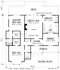 Search house plans from the Donald Gardner portfolio of custom home designs. The best home plans since Custom modification to all floor plans available. Open House Plans, Ranch House Plans, Dream House Plans, House Floor Plans, Window Above Door, Best Home Plans, Fireplace Kits, Log Homes, Tiny Homes