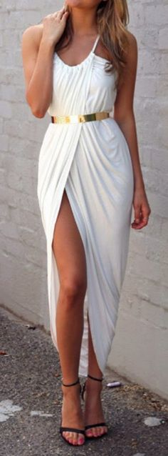 White maxi dress with golden belt and sandals [va-va-voom, gretian style]. This would be a great dress for halloween as a goddess