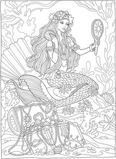 Mermaids with treasure chest from creative haven magnificent mermaids coloring. - Mermaids with treasure chest from creative haven magnificent mermaids coloring book / dover publi - Mermaid Coloring Book, Fairy Coloring Pages, Adult Coloring Book Pages, Printable Adult Coloring Pages, Mandala Coloring Pages, Coloring Sheets, Coloring Pages For Adults, Kids Coloring, Free Coloring