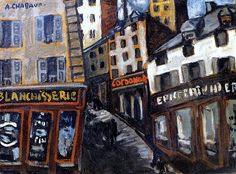 Shopping Street in Montmartre, Paris 1907 by Auguste Chabaud (French, 1882 - 1955)
