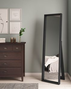 Kenna Standing Shadow Box Decor Mirror , Make sure that you look perfectly put together before stepping out of your home with the Kenna Standing Mirror. Add a classic accent to your bedroom o. Full Length Mirror In Bedroom, Mirror For Bedroom, Full Length Mirrors, Stand Up Mirror, Mirror Box, Full Mirror, Mirror Ideas, Bedroom Furniture, Bedroom Decor