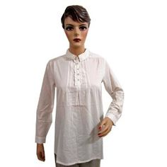 Womens Fashion White Cotton Tunic Full Sleeves Pleated Blouse Tops Small Size (Apparel)