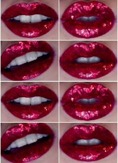 Beautiful Red Glittery Lips, and they would make my teeth look whiter :-)