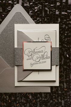 KATHRYN Suite Glitter Package, classic silver wedding invitation, script wedding invitations, beautiful wedding invitations, silver glitter envelopes, letterpress wedding invitations
