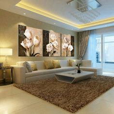 (no frames) picture 3 piece modern cheap home decor wall pictures oil paintings art on flower bedroom living room canvas print Ceiling Design Living Room, Living Room Designs, Home Living Room, Living Room Decor, Kitchen Living, Beige Living Rooms, Room Kitchen, Living Room Canvas Prints, Wall Prints