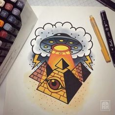 Pyramid/UFO Design (Unknown Artist) <3