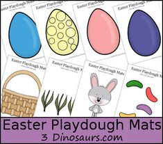 Here are fun to play with FREE Easter Playdough Mats from 3 Dinosaurs. In this printable you will find:  10 pages Different colors of eggs and themes o