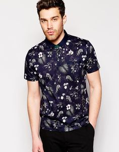 Ted Baker Polo Shirt With All Over Floral Print