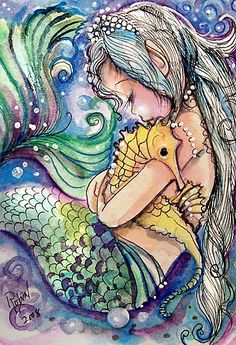 "Mermaids Ocean Sea Seahorses: ""Just a Little Love,"" by Robin Pushe'e. #Mermaid with #seahorse."