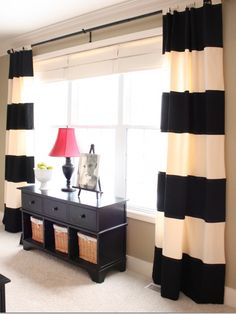 Black and cream curtains for studio. These would be pretty easy to make myself if I can't find them in a store.