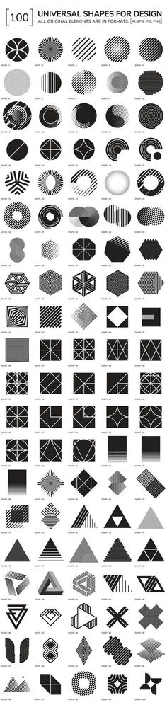 100 geometric shapes by Vanzyst on Creative Market - Graphic Work Graphisches Design, Design Elements, Logo Design, Shape Design, Pattern Design, Geometric Designs, Geometric Shapes, Geometric Patterns, Geometric Symbols