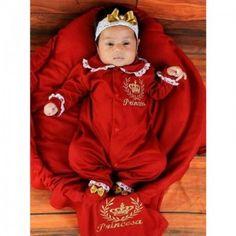 Saída de Maternidade Princesa Luxo Vermelha c/ Manta