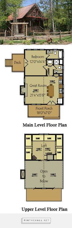 Small Cabin Plan with loft Fish Camp Cabin is a small cabin floor plan with a loft, stone fireplace and covered porch. Visit us to view all of our small cabin house plans. Cabin Plans With Loft, Small Cabin Plans, House Plan With Loft, Cabin House Plans, Cabin Floor Plans, House Plans One Story, Tiny House Cabin, Cabin Homes, Small House Plans