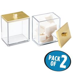 Amazon.com: mDesign Bathroom Vanity Storage Organizer Canister Jars for Q tips, Cotton Swabs, Cotton Rounds, Cotton Balls, Makeup Sponges, Bath Salts - Pack of 2, Clear/Brushed Gold: Home & Kitchen