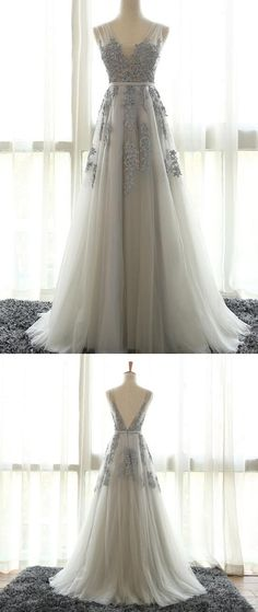 Elegant V-Neck Appliques Prom Dresses,Long Prom Dresses,Cheap Prom Dresses, Evening Dress Prom Gowns, Formal Women Dress,Prom Dress