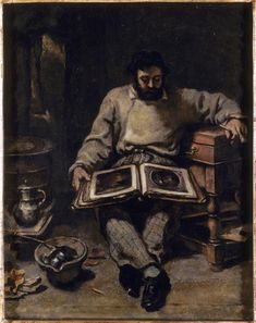 Marc Trapadoux is Examining the Book of Prints, 1848 by Gustave Courbet. Realism. portrait. Musee d'Art Moderne de Troyes, Troyes, France