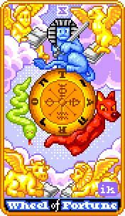 View the Wheel of Fortune in the 8-Bit Tarot deck on Tarot.com