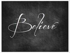 Believe Chalkboard Art Printable