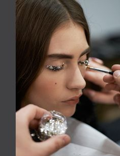 Detail of Chanel A/W 2013 catwalk makeup, snapped my Mr Lagerfeld himself.