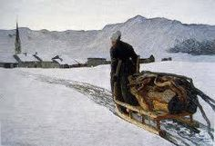 Segantini, Ritorno dal bosco, 1890. In a winter afternoon a woman returns to Savognino carrying a sled load of wood. With his gait slow and fatigued, it just entered in the frame and moves along a track already laid, which cuts diagonally across a vast expanse of snow. The country, with the snow-covered roofs, tightens around the bell tower in shadow, almost crushed from the impending mountain range that stretches uninterrupted.