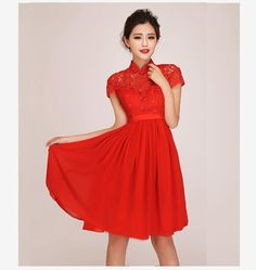 New lace wedding dress red wedding dress the bride toast clothing Chinese clothing cheongsam dress red toast from taobao