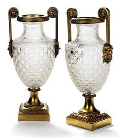 Russian Ormolu-Mounted Cut Glass Vases.