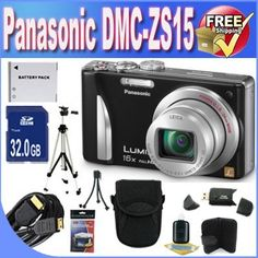 Panasonic Lumix ZS15 12.1 MP High Sensitivity MOS Digital Camera with 16x Optical Zoom + 32GB SDHC Class 10 Memory + Extended Life Battery + USB Card Reader + Memory Card Wallet + Deluxe Case w/Strap + Mini HDMI to HDMI Cable + Shock Proof Deluxe Case + Professional Full Size Tripod + DMCZS15 Accessory Saver Bundle! by BVI. $258.49. This Kit Includes! 1- Panasonic Lumix ZS15 12.1 MP High Sensitivity MOS Digital Camera with 16x Optical Zoom w/ All Supplied Accessories  1- 32G...