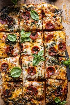 Easy sheet pan Tomato Herb Pizza Recipe | It's savory, a touch spicy, and the perfect mix of summer flavors that everyone will LOVE! Cherry Tomato Sauce, Roasted Cherry Tomatoes, Cooking Recipes, Healthy Recipes, Healthy Pizza, Cooking 101, Delicious Recipes, Vegetarian Recipes, Half Baked Harvest