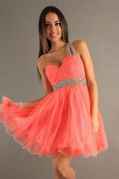 Watermelon Short One Shoulder Organza Zipper A-Line Homecoming Dress