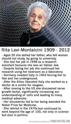 Rita Levi Montalcini, a great long life, a great woman… Literally My Idol! Great Women, Amazing Women, Inspirer Les Gens, Cultura Judaica, Prix Nobel, The Meta Picture, Photo Images, Humanity Restored, Badass Women