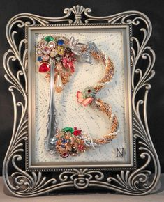 """Items similar to Pick your Letter, Custom made """"Initial"""". Jewelry Art on glass, framed on Etsy - Pick your Letter Custom made Initial Jewelry Art by - Jewelry Frames, Initial Jewelry, Jewelry Tree, Silver Jewelry, Pandora Jewelry, Gold Jewellery, Silver Ring, Silver Earrings, Jewelry Box"""