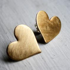 Large Brass Heart Studs
