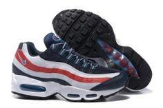 Discount Nike Air Max 95 Essential Dark Blue/White/Red Men's Running Shoes Training 667637 400