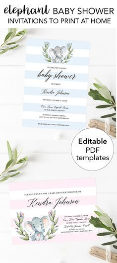 Elephant baby shower ideas by LittleSizzle. Invitations for an elephant themed baby shower. Baby shower girl or boy baby shower invitations to edit and print at home! Blue elephant and pink elephant invites are so cute! #babyshowerideas #babyshowerinvitat