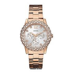 GUESS Womens U0335L3 Rose GoldTone MultiFunction Watch with Genuine Crystal Accented Case >>> Be sure to check out this awesome product.