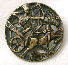 ButtonArtMuseum.com - Antique Pierced Brass Button Egyptian in Chariot Shooting Arrows