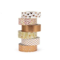 Copper Washi Tape Set Metallic Foil Rose Gold Bronze Butterfly Polka Dots Hearts by Hobbyhoppers on Etsy Washi Tape Diy, Washi Tapes, Cinta Washi, Diy Plaster, Stationary Supplies, School Stationery, Dear Diary, School Supplies, Bujo