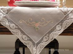 Antique hand-embroidered tablecloth with shadow stitch. Antique linens.