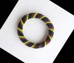 Rasta Colors Beaded Handmade African Bracelet by SipsHouseofDesign on Etsy