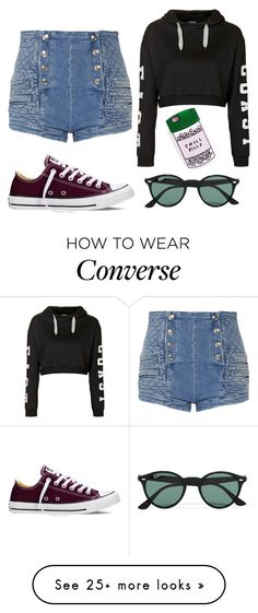"""Untitled #249"" by liveloud8299 on Polyvore featuring Topshop, Pierre Balmain, Converse, Ray-Ban, women's clothing, women, female, woman, misses and juniors"