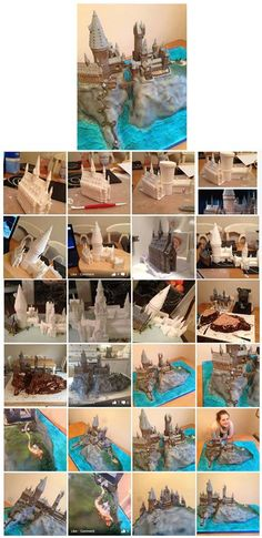 The making of Hogwarts. It is created by… Harry Potter Food, Sculpted Cakes, Origami Butterfly, 3d Cakes, Fancy Cakes, Cake Tutorial, 8th Birthday, Clay Projects, Cupcake Cookies