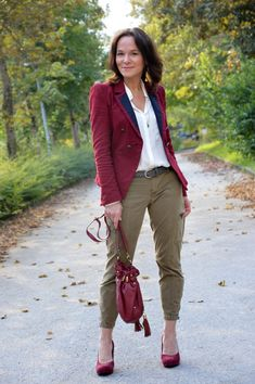 Burgundy and Olive | Lady of Style - love the colour combo though the silhouette would not be mine