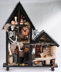 Items similar to Haunted Shadow Box, Halloween Assemblage. Skeleton, Home Decor, In A Gallery Show, Will Not Ship Until March 1 on Etsy